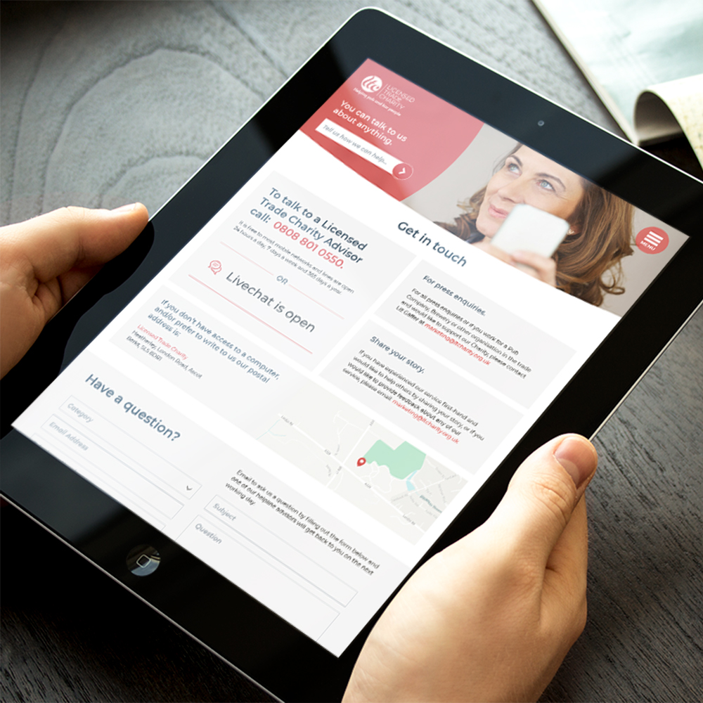 Licensed Trade Charity - tablet view